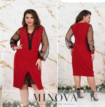 Нарядное платье (синий, красный,черный) батал  Размеры: 50,52,54,56,58,60, фото 2