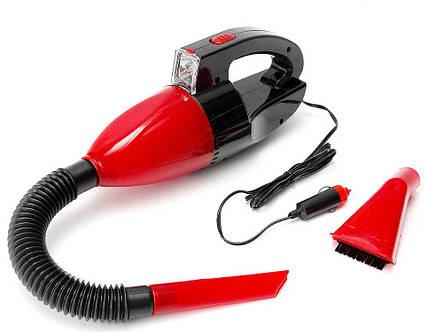 Автомобильный пылесос с фонарем Vacuum Cleaner красный