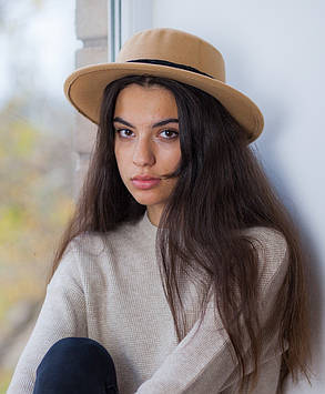 Осенняя шляпа канотье бежевая, фото 2