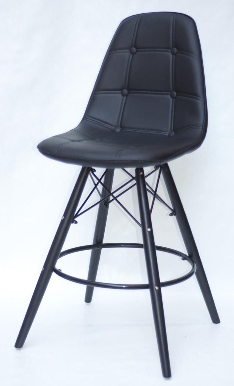 Полубарный стілець Alex BK, екошкіра, чорний