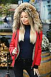 Куртка женская зимняя короткая с натуральным мехом.  Цвет: красный,бутылка, пудра, фото 4