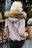 Куртка женская зимняя короткая с натуральным мехом.  Цвет: красный,бутылка, пудра, фото 6