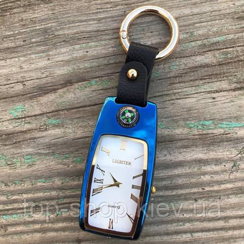 USB зажигалка часы брелок электронная Lighter Синий