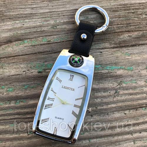USB зажигалка часы брелок электронная Lighter Серебристый
