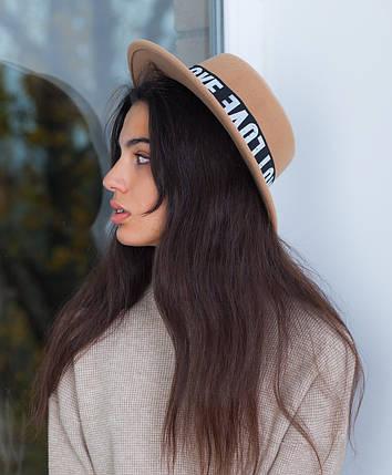 Шляпа с надписями беж, фото 2