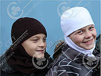 Детская, взрослая шапка шлем, маска, балаклава.  Полар флис цвета, размеры 50, белый