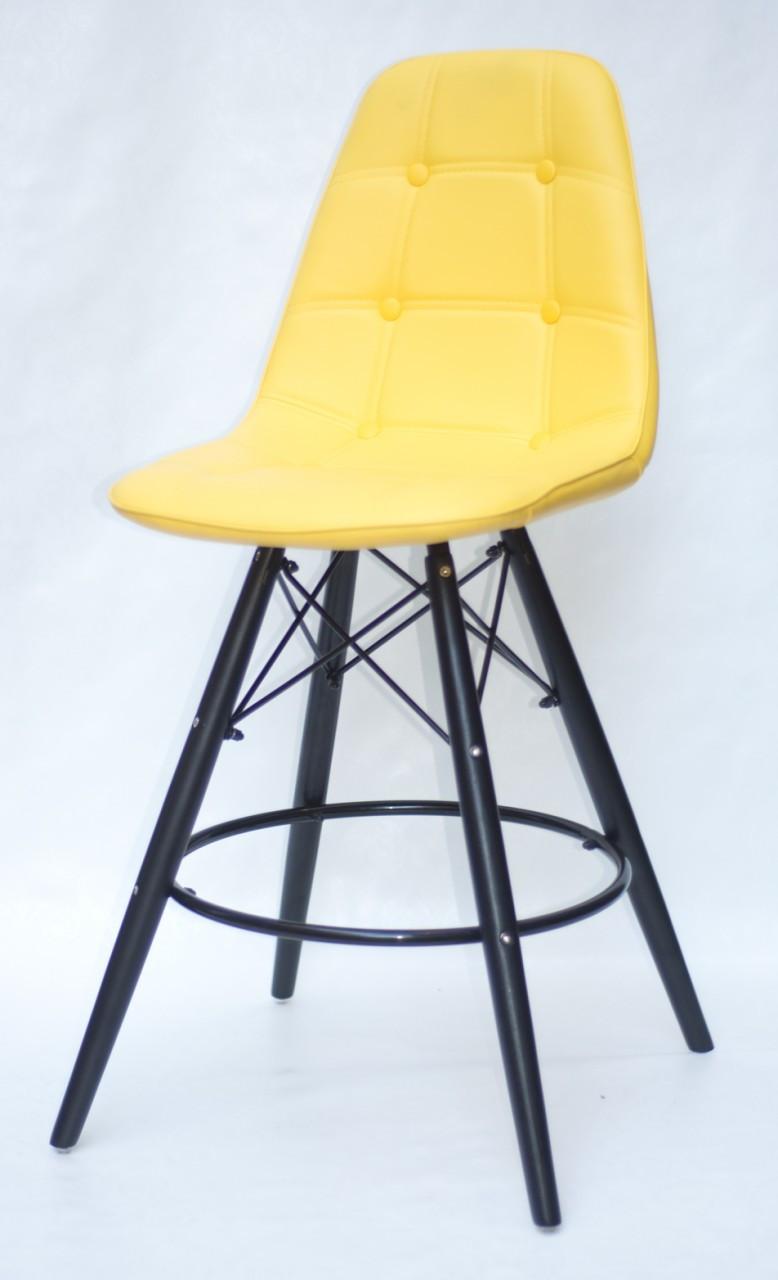 Барний стілець Alex BK, екошкіра, жовтий