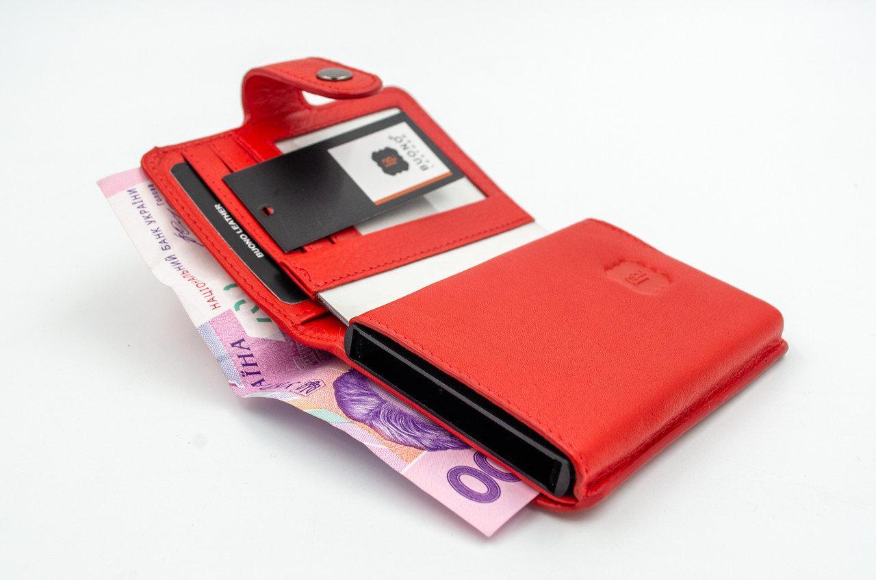 Кожаный кошелек и держатель для кредитных карт из натуральной кожи, цвет красный
