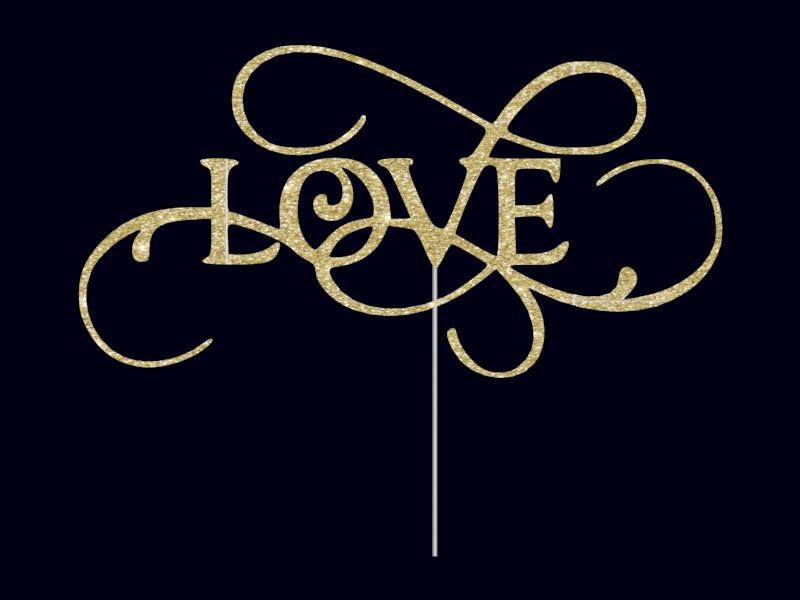 Топпер Love с ажурными завитками, золотой топпер Love