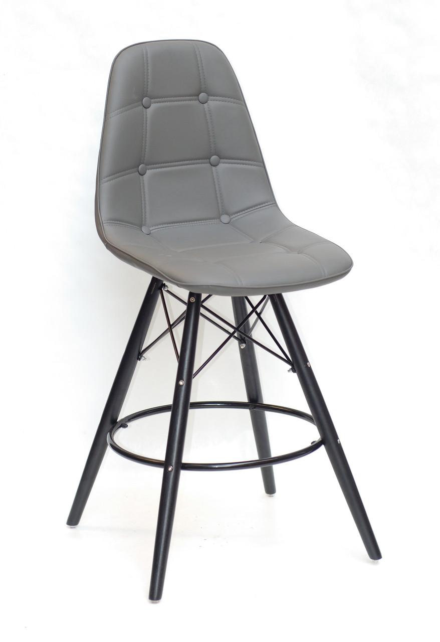 Полубарный стілець Alex BK, екошкіра, темно-сірий