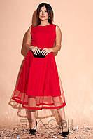 Вечернее красное пышное платье-двойка с жакетом