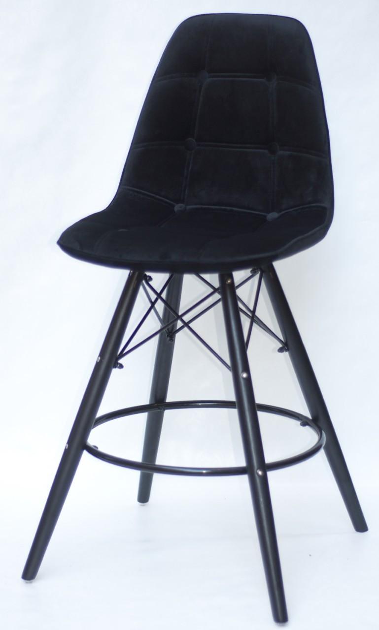 Полубарный стілець Alex BK, оксамит, чорний