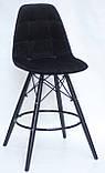 Полубарный стілець Alex BK, оксамит, чорний, фото 2