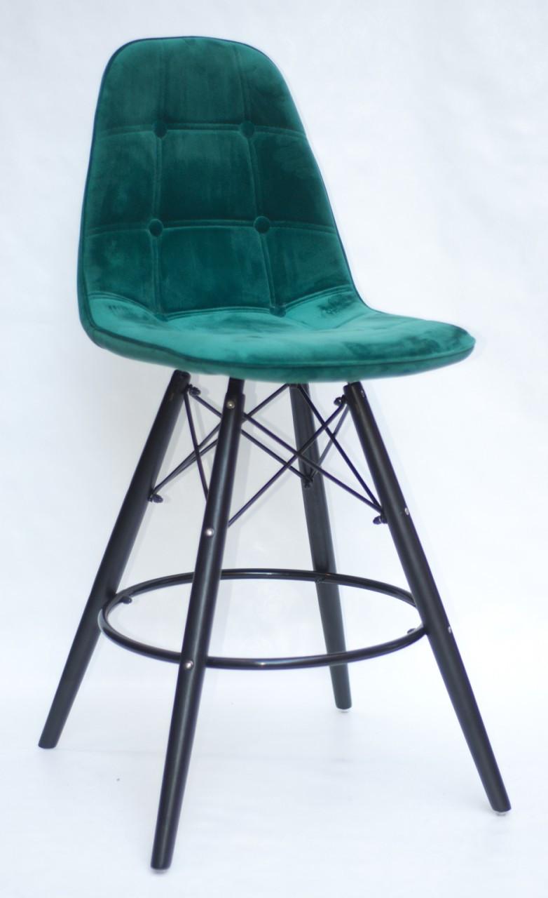 Полубарный стілець Alex BK, оксамит, зелений