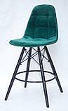 Полубарный стілець Alex BK, оксамит, зелений, фото 2