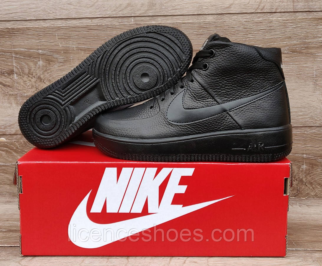 Подростковые, детские зимние ботинки кроссовки Nike Air Force Total Black