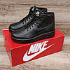 Подростковые, детские зимние ботинки кроссовки Nike Air Force Total Black, фото 3