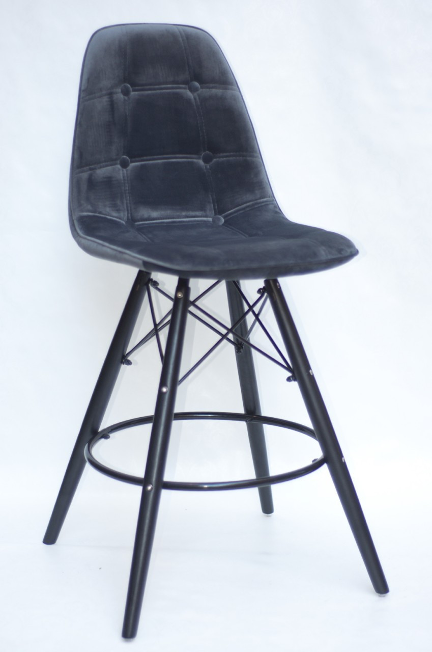 Полубарный стул Alex BK Бархат, серый