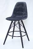 Полубарный стул Alex BK Бархат, серый, фото 2