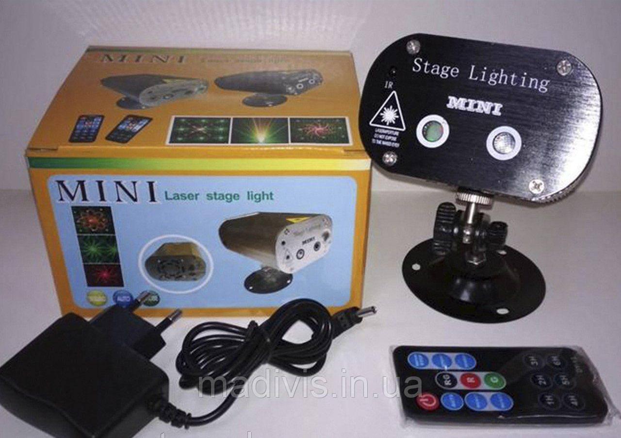 Лазерный проектор Mini Laser Stage Lighting 24 Double mesh laser ST-22 (Black shell)