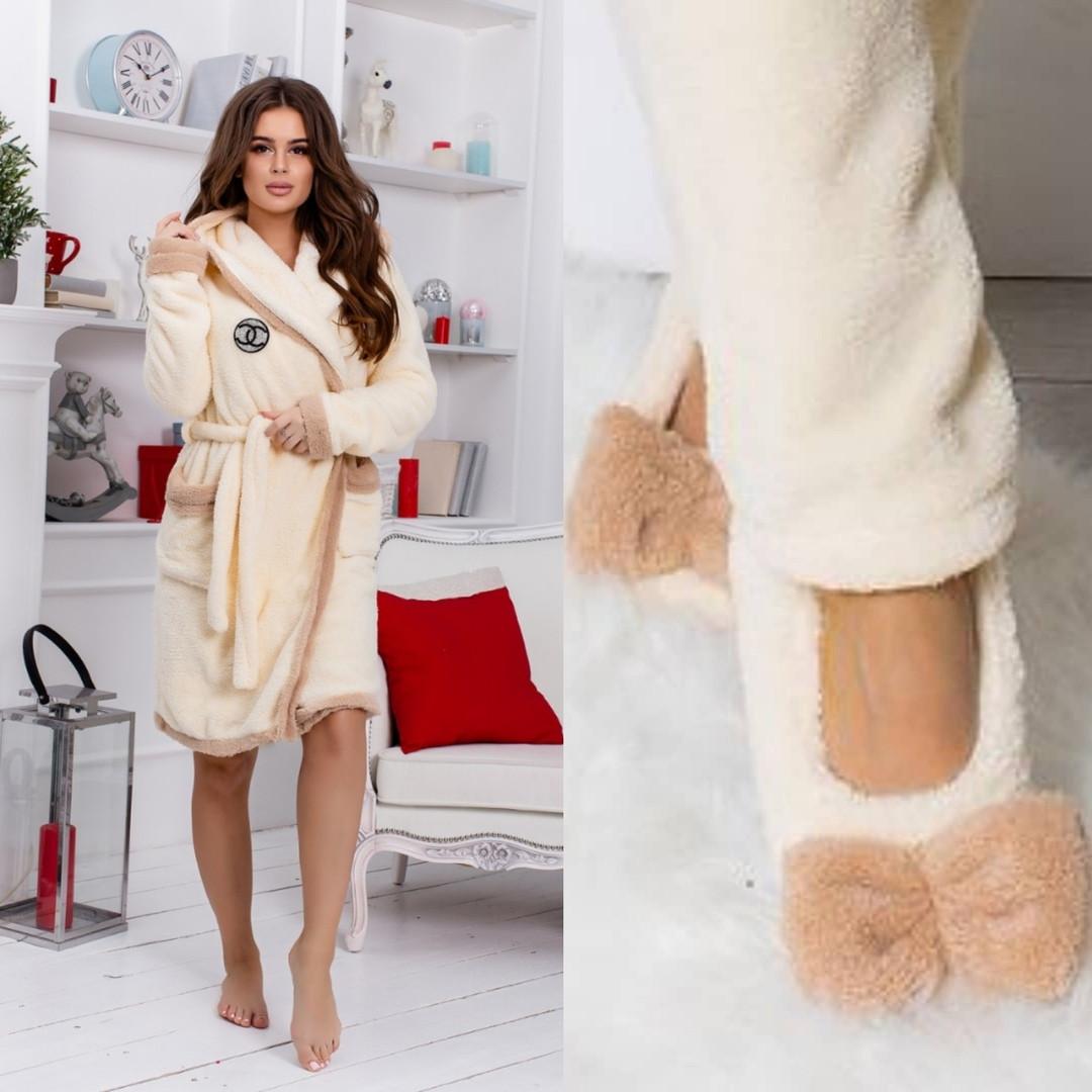 Набор женский домашний халат с домашними тапочками