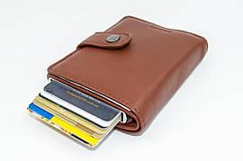 Кожаный кошелек и держатель для кредитных карт из натуральной кожи, цвет светло-коричневый