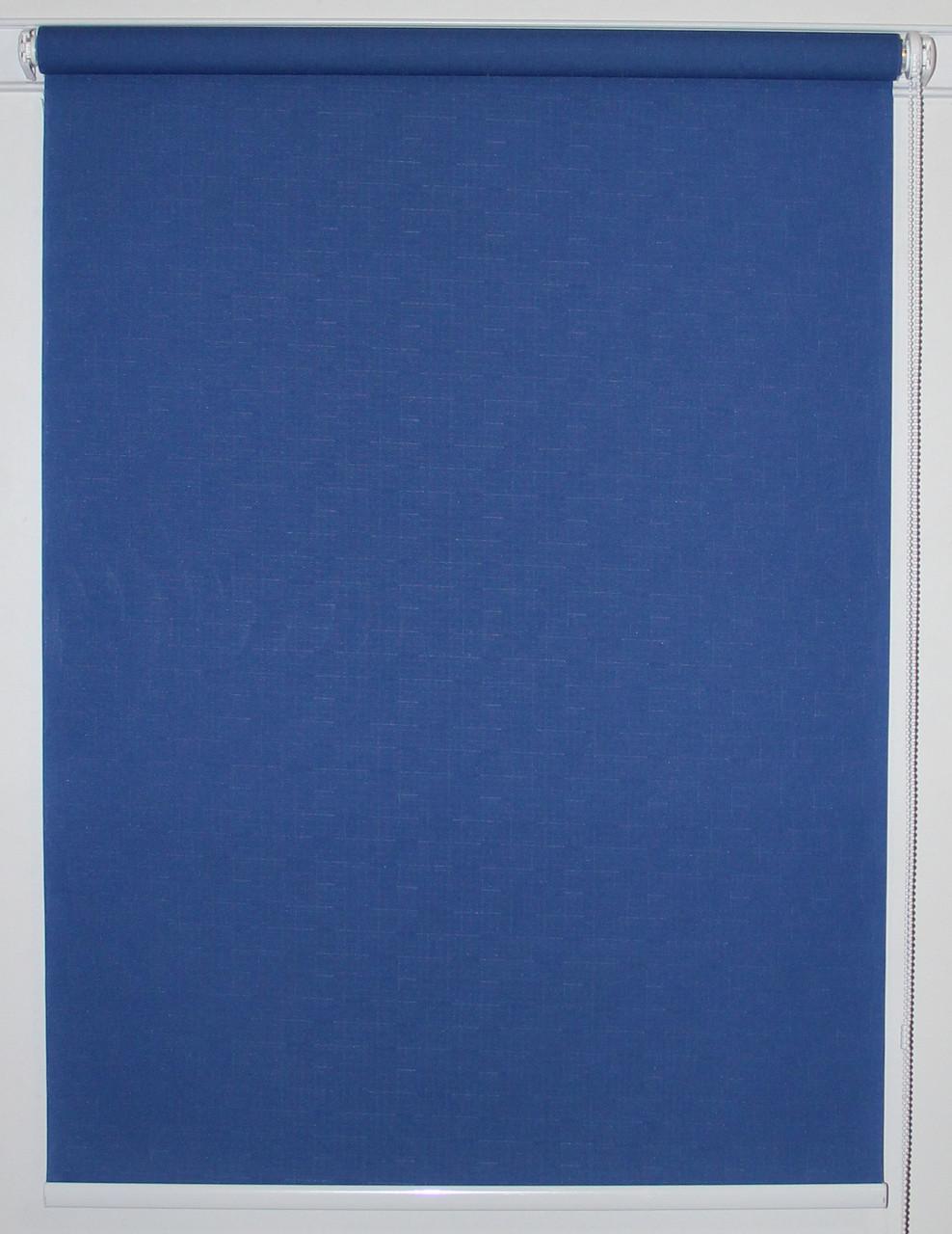 Рулонная штора 1400*1500 Ткань Лён 2075 Синий