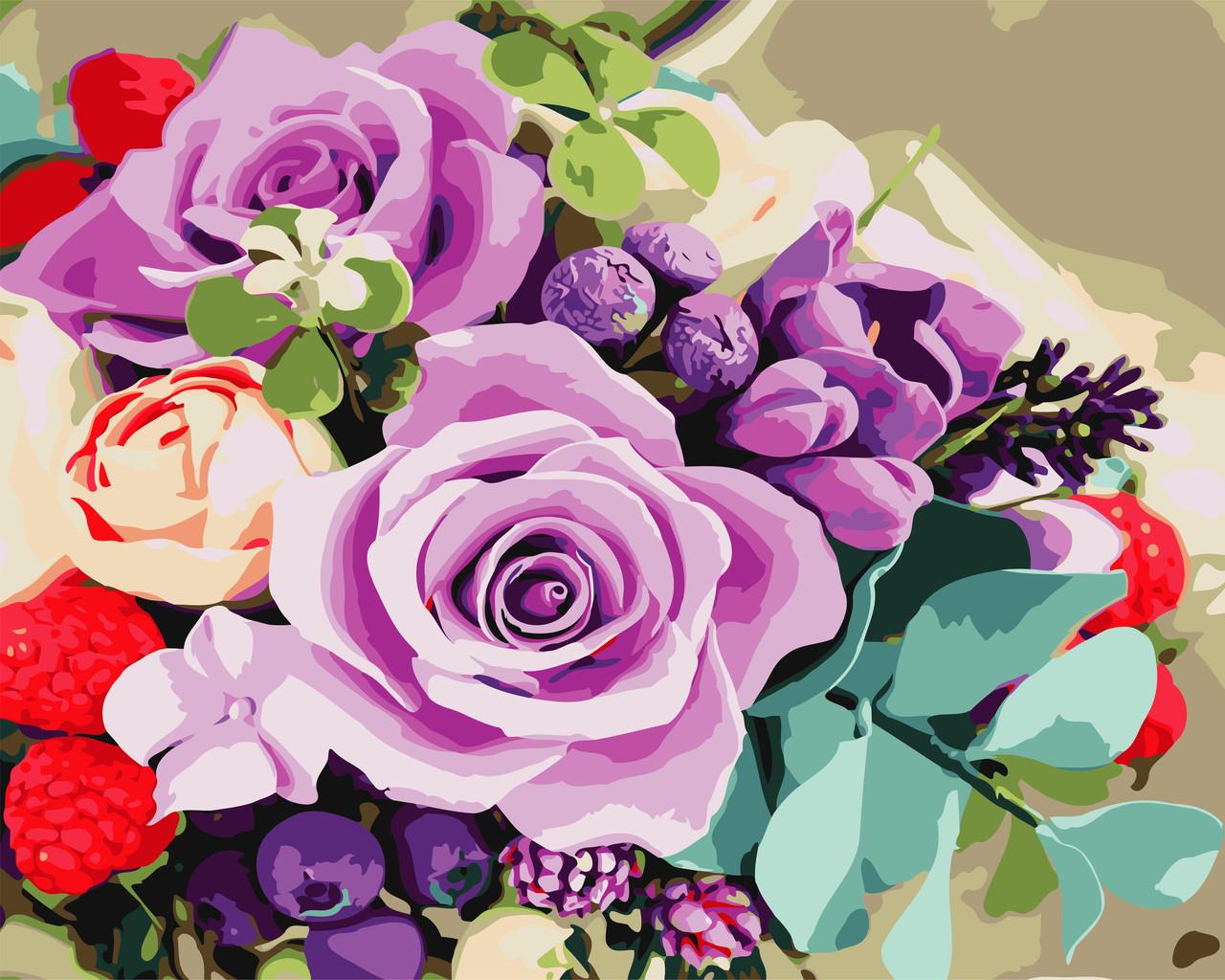 """Картина по номерам """"Яркие цветы"""" 40*50см: продажа, цена в ..."""