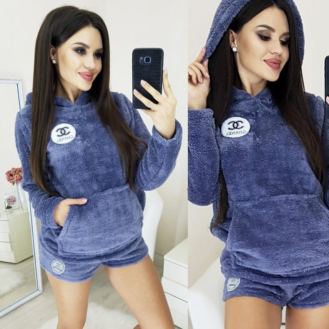 Пижама махровая женская шорты+кофточка