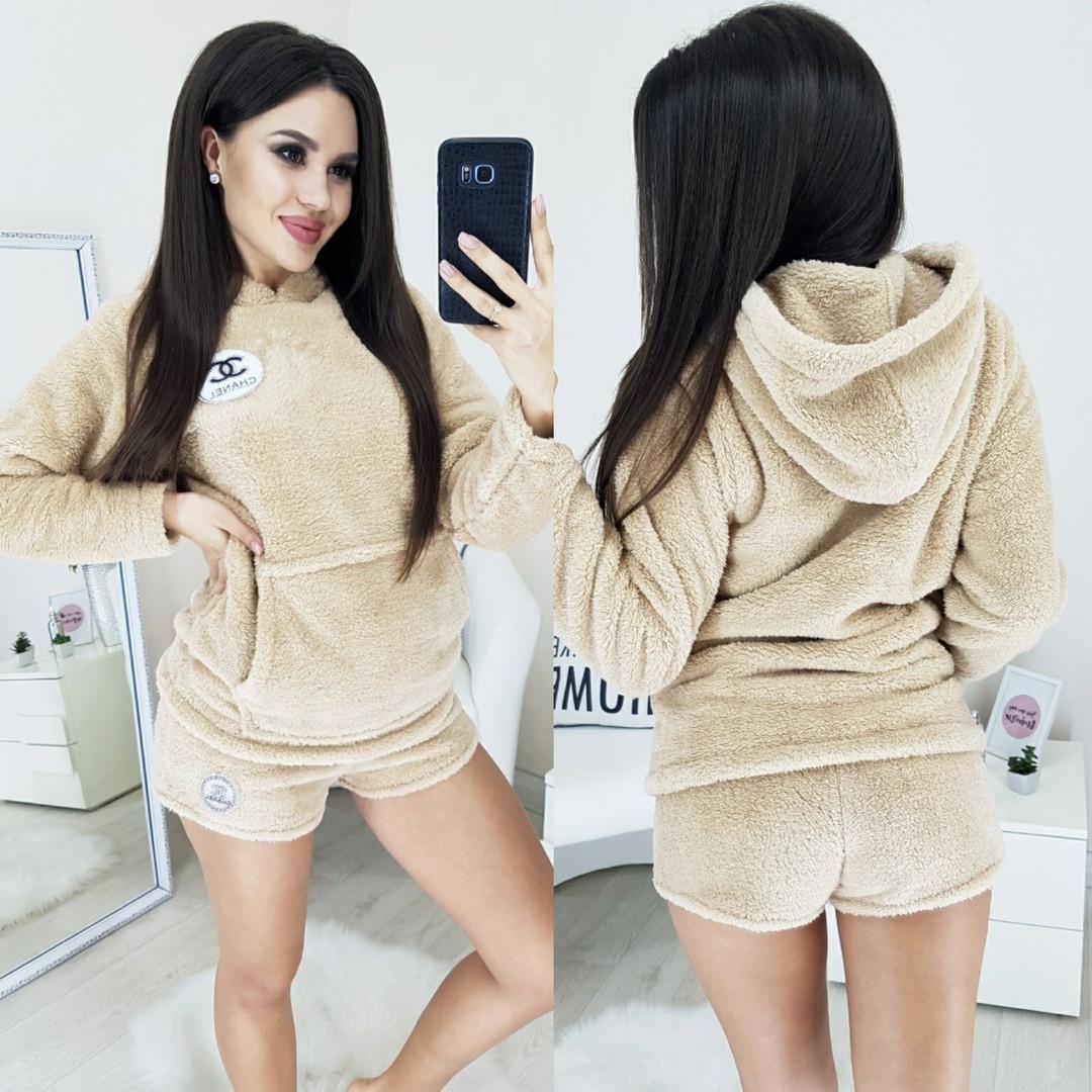 Піжама махрова жіноча шорти+кофточка