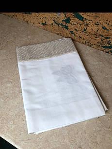 Скатертина біла бавовняна з вишивкою