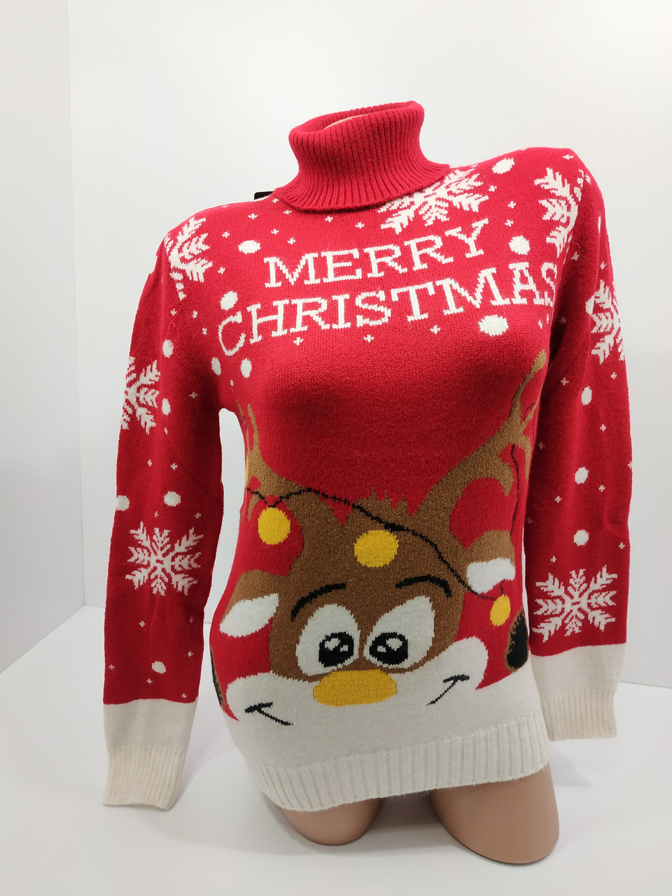 Шерстяні жіночі светри новорічні оптом та в роздріб S 2044