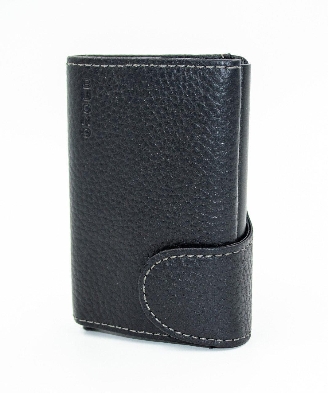 Кожаный кошелек и держатель для кредитных карт из натуральной кожи, цвет черный