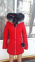 Молодежная оригинальная зимняя куртка с мехом чернобурки