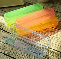 Футляр пенал пластиковый для кистей , салатовый