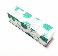 Баф блок для полировки  ногтей с цветными узорами (зеленые сердечки)