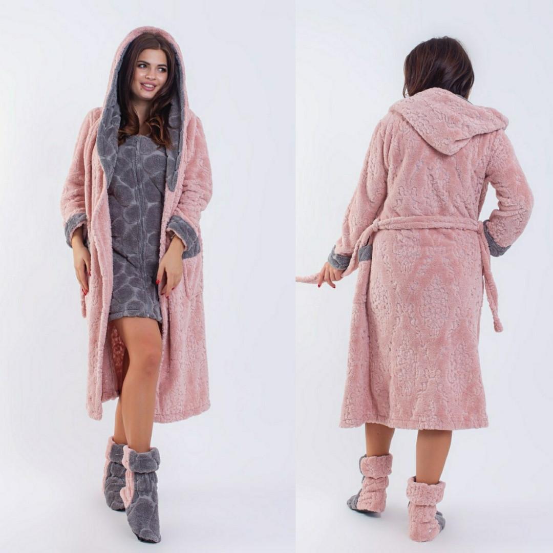 Женский набор халат длинный с вшитым сарафаном+сапожки махровые большие размеры