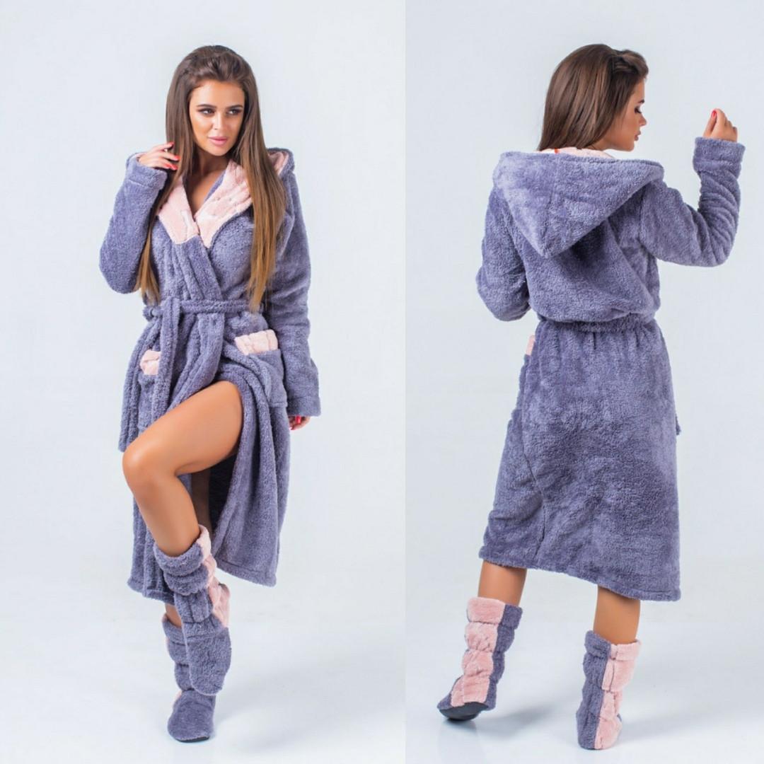 Набір жіночий: махровий халат з чобітками 42-52