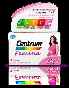 Пренатальные витамины PFIZER CENTRUM FEMINA 1 для беременных 30 таблеток на месяц