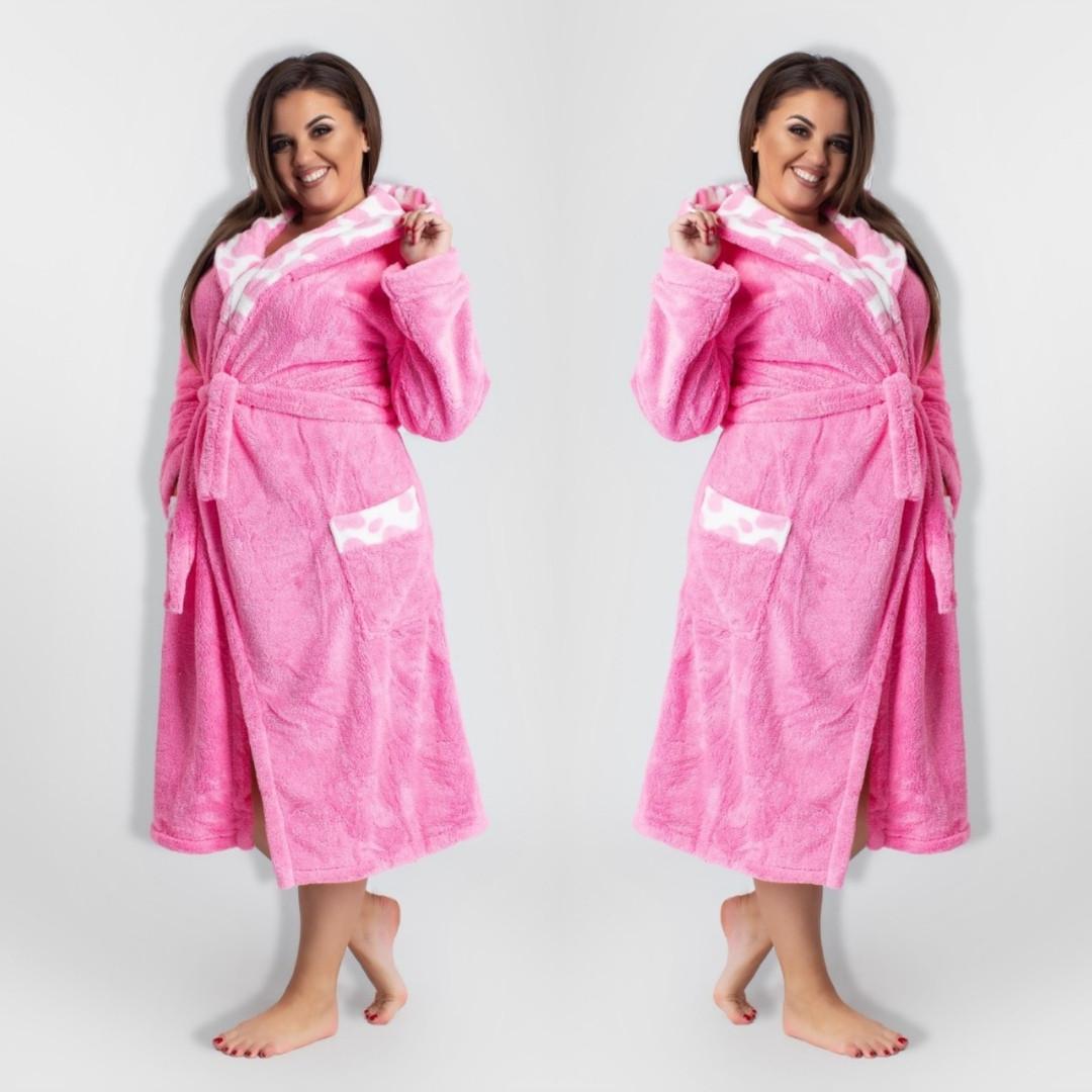 Длинный женский теплый халат с капюшоном большие размеры