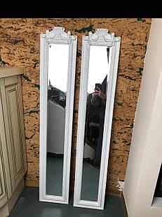 Дзеркало настінне в дерев'яній рамі біле вузьке довге лофт loft під старовину