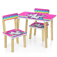 Детский столик деревянный и 2 стульчика Единорог Bambi  501-64 Розовый