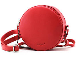 Женская круглая кожаная сумка cross-body Buono красная
