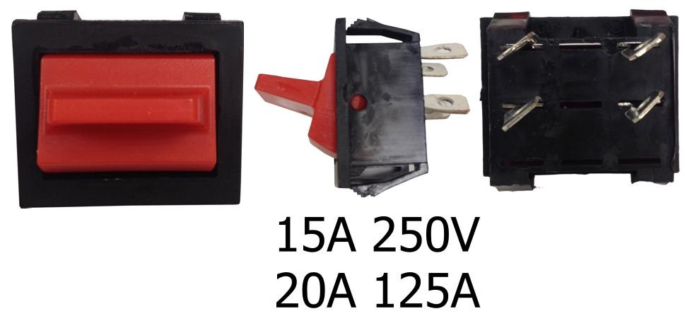 Перемикач 1 клав (чорний+червоний) KCD2--9-201 Rd/Bk ON-OFF ENERGIO