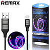 USB кабель Remax RC-130i Luminous Lightning черный