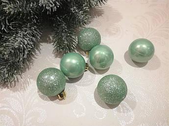 Новогодние елочные шары, мята, 4 см.