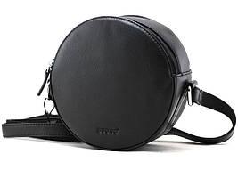 Женская круглая кожаная сумка cross-body Buono черная