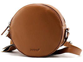 Женская круглая кожаная сумка cross-body Buono коричневая