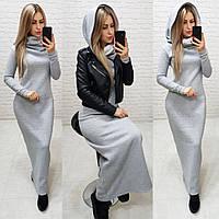 Платье женское теплое длинное в пол. Разные цвета, фото 1