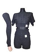 Костюм для разогрева Borodina Antonina S темно-серый с короткими рукавами (0902)